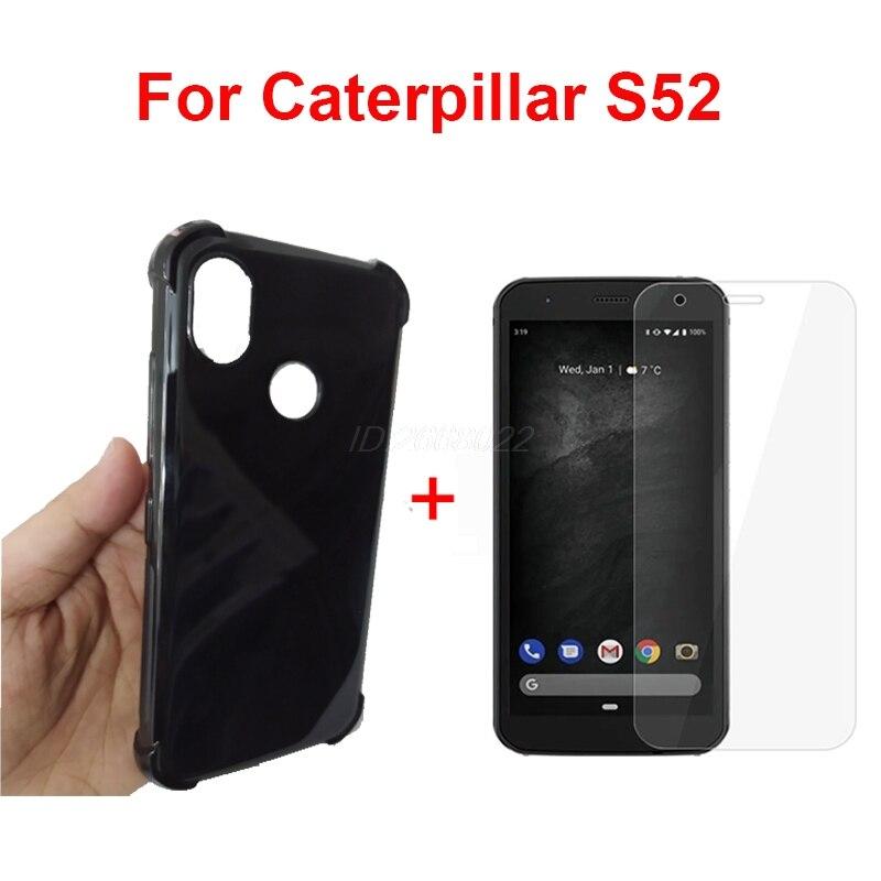 Caixa de telefone transparente para caterpillar cat s52 s 52 tpu preto macio caso para caterpillar cat s52 s 52 com temepred vidro cat s52 Caso de telefone & Covers    -