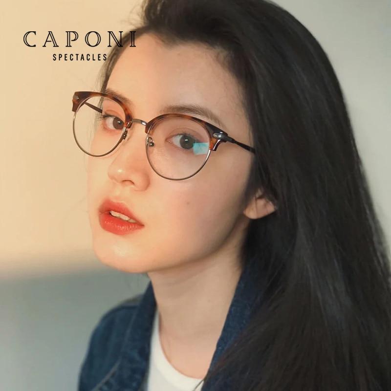 CAPONI إطار من التيتانيوم النظارات النساء الرجعية مستديرة العنبر خلات الإطار للإناث الضوء الأزرق حجب نظارات الكمبيوتر BF2120
