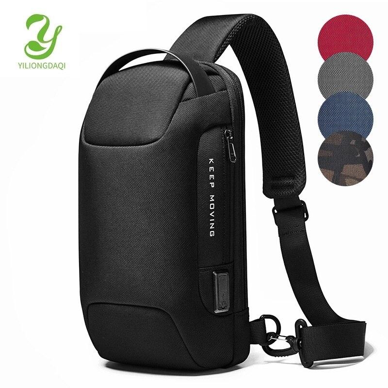 YILIONGDAQI-حقيبة كتف للرجال ، حقيبة سفر رياضية ، كروس بودي ، مقاومة للماء ، مضادة للسرقة ، مع USB