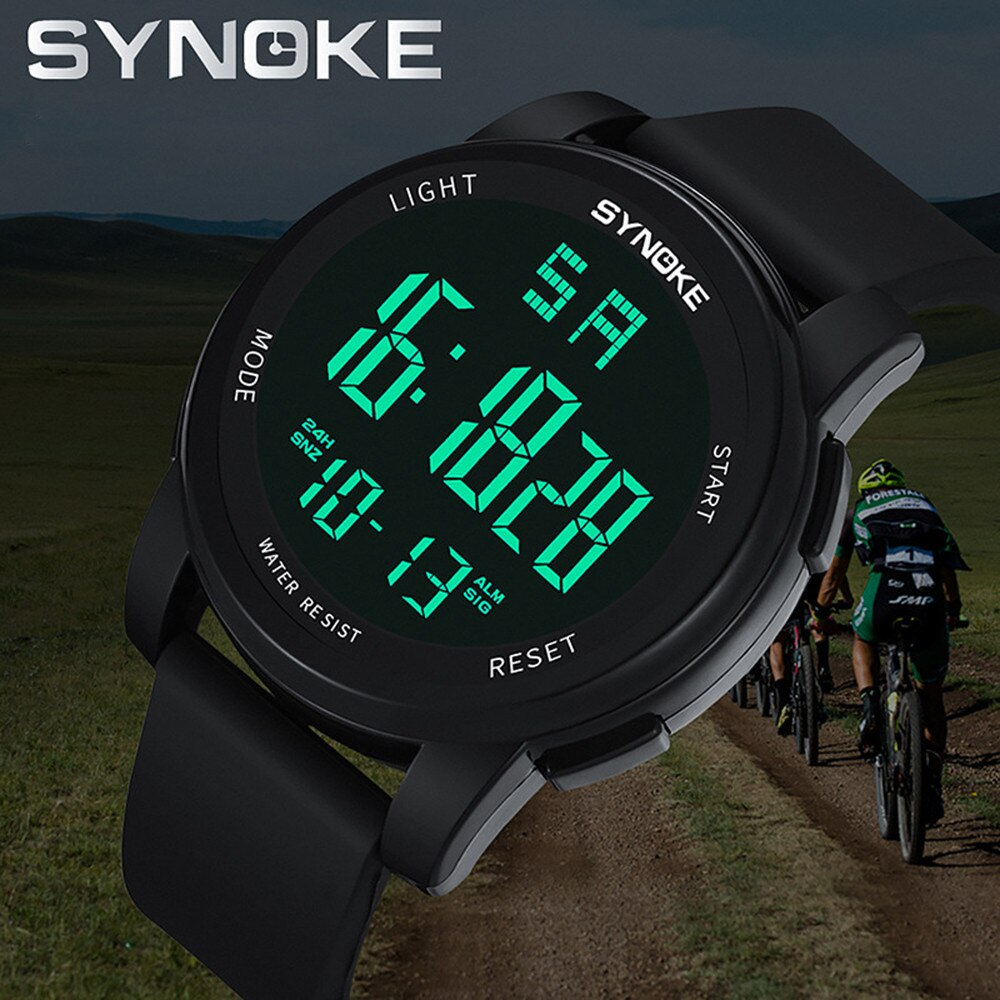 Synoke Digital Watches For Men Men's Multi Function Military Sports Watch Led Digital Dual Movement