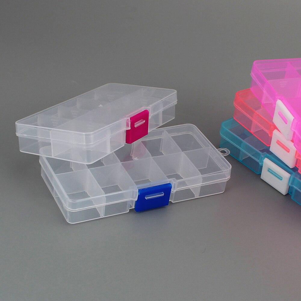 10 espaços caixa de pílulas de plástico destacável, mini parafuso de peças eletrônicas, organizador de joias, anel, caixa de armazenamento empilhável