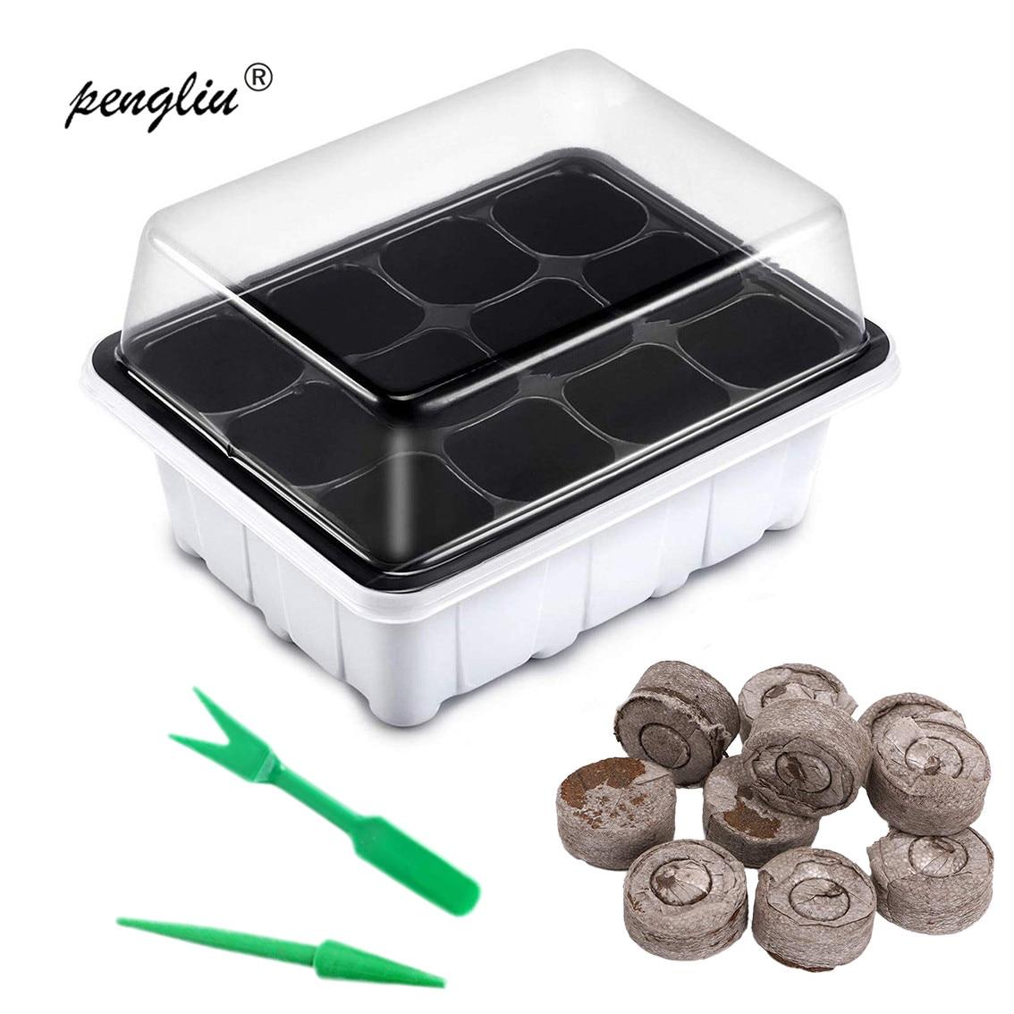 6/12 células macetas de plástico para viveros semilla para plantar set de bandejas con cúpula y planta base vivero nutrición bloque y trasplante de kit de herramientas