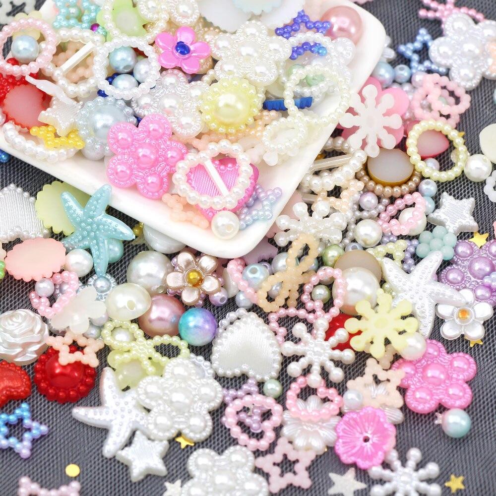 20g mieszane ABS perła perła z żywicy koraliki do śluzu wypełnienia półokrągłe perły kwiat łuk Flatback Cabochon DIY Shaker Charms formy