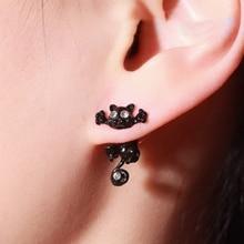 1 Pair Cat Ear Studs For Women Earrings Animal Cartoon Ear Studs Push-back Earrings - Black Red Whit