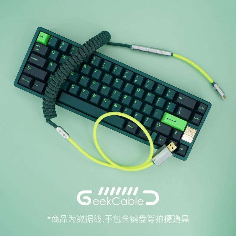 كابل بيانات لوحة المفاتيح الميكانيكية المخصصة المصنوعة يدويا من geekكابل ل GMK موضوع SP خط Keycap الفلورسنت الأخضر كولورواي