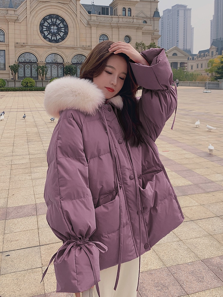 Down Parka Chic Purple Down Cotton Padded Jacket Women's Short Style Winter New Korean Loose Student