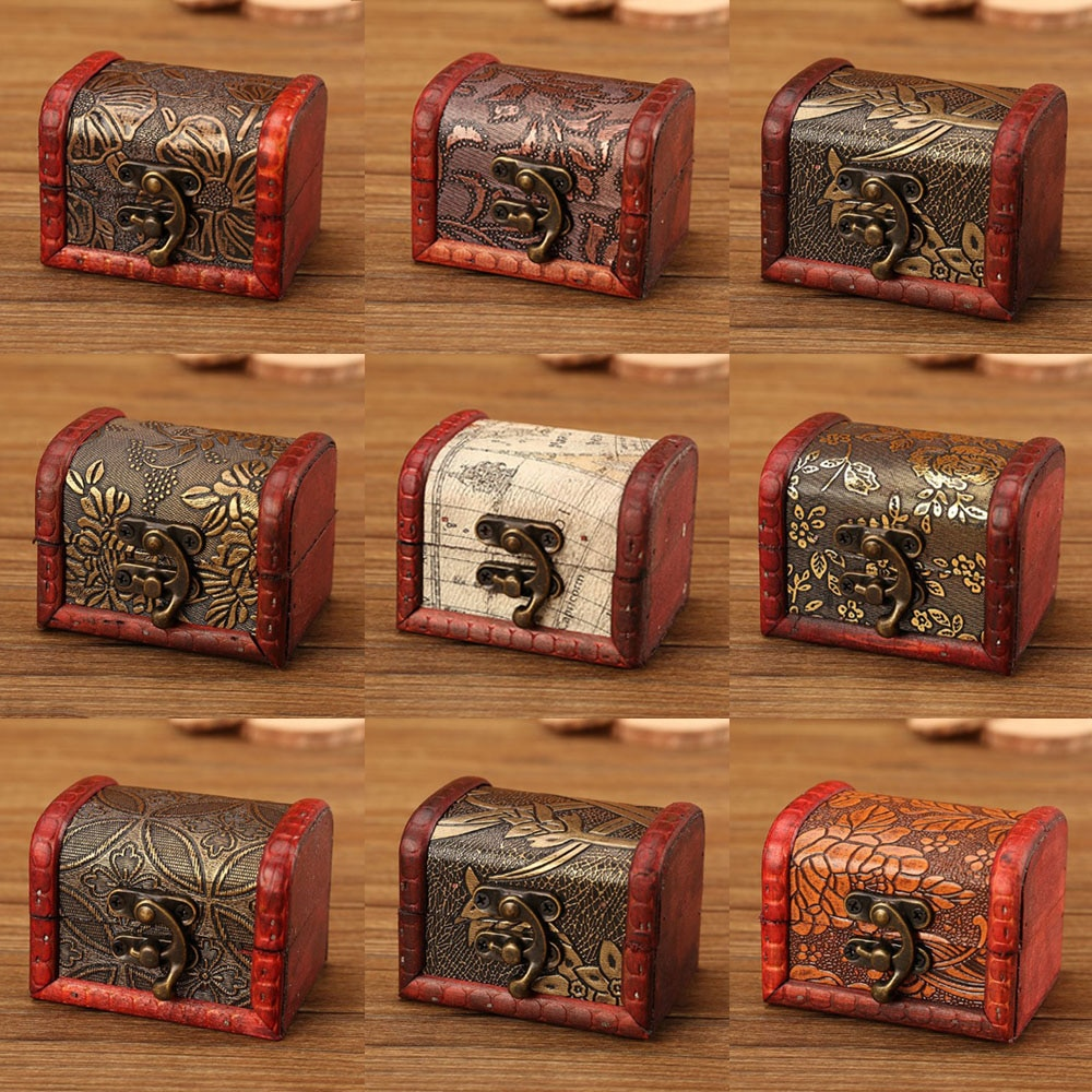 Jewelry Storage Box Vintage Wooden Carved Flower Pattern Treasure Chest For Memorial