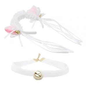 Girls Cute Cartoon Headband Furry Lovely Ears with Bow Necklace Bells Headwear Choker Collar Set for Halloween Party