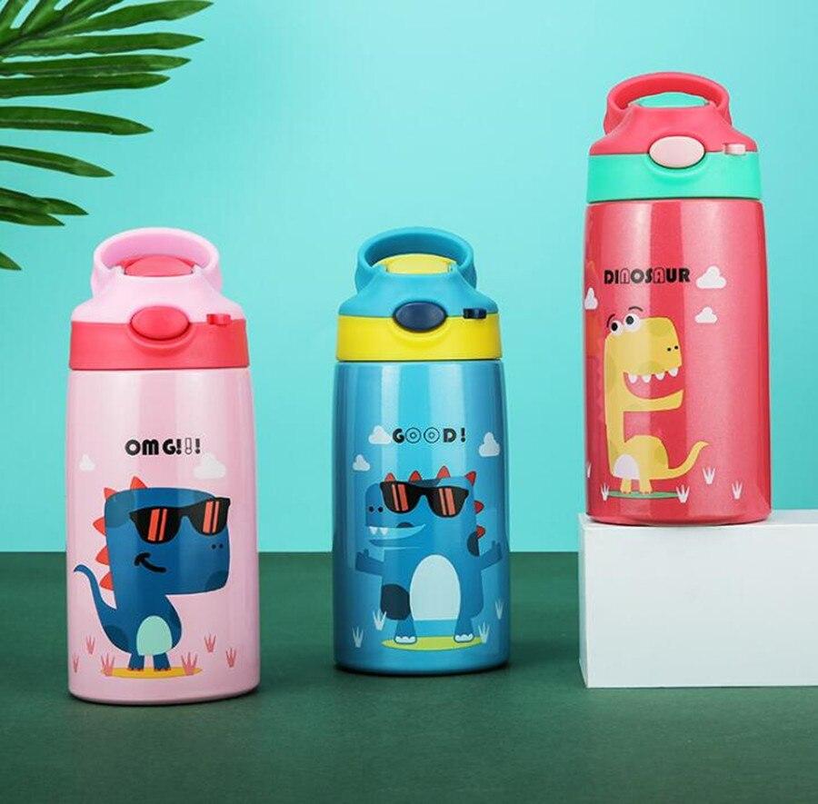 Gran oferta para niños lindos, tetera de leche en polvo, tetera de acero inoxidable de dibujos animados, termos de paja 316, frascos para bebé, botella de agua al vacío
