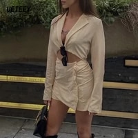 2020 womens two piece blazers dresses cotton long sleeve dress femme sexy mini dress office formal blazer suit hollow out robes