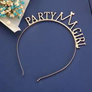 Fashion Alloy Metal Gold Party Girl Crown Hairband Wedding Hair Accessories Headband Headwear For Party Supplies Gift