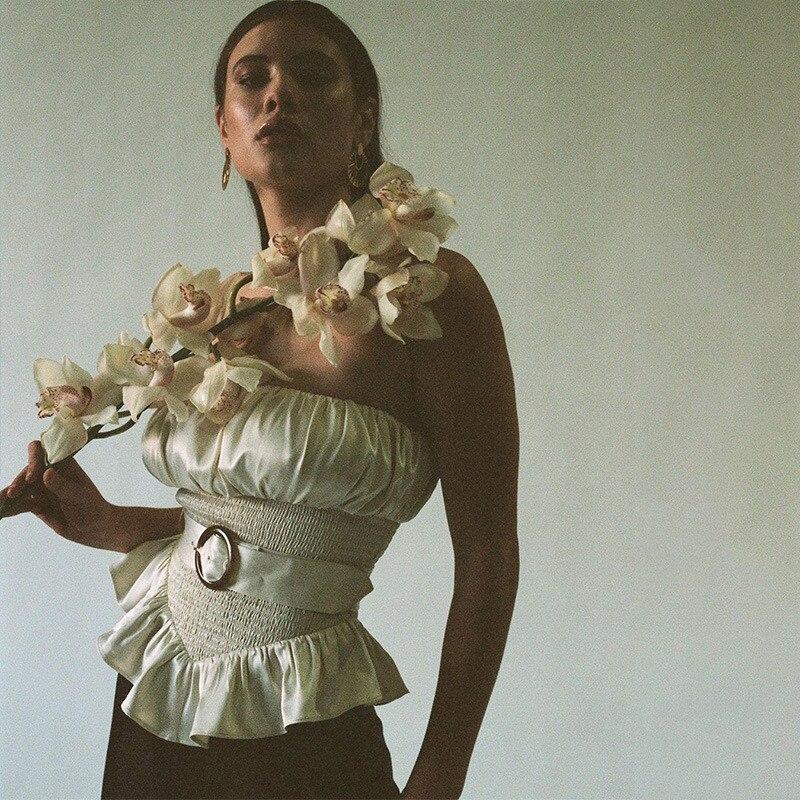 Sexy OL sans bretelles hors épaule femmes réservoir gilet culture hauts Slash cou volants blanc avec ceinture Bustiers Corsets