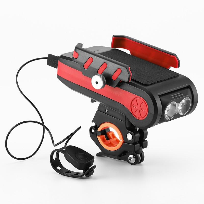 4 في 1 Led إضاءة دراجة هوائية الجبهة USB قابلة للشحن القرن حامل هاتف دراجة 4000MAh دراجة مصباح يدوي للدراجات ضوء فانوس