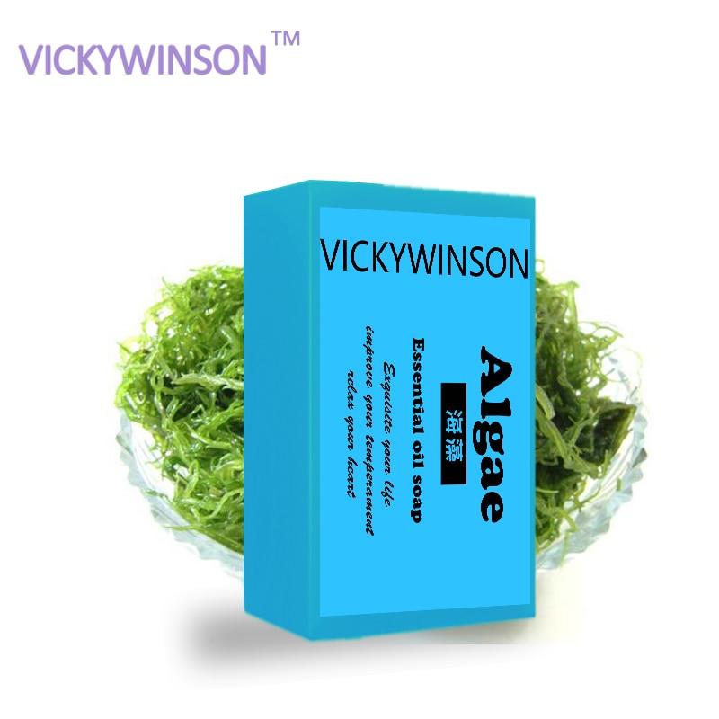 Algae handmade soap 50g Acne Moisturizing Hyaluronic Acid Deep Cleansing Mini Anti-aging Face Care Seaweed недорого