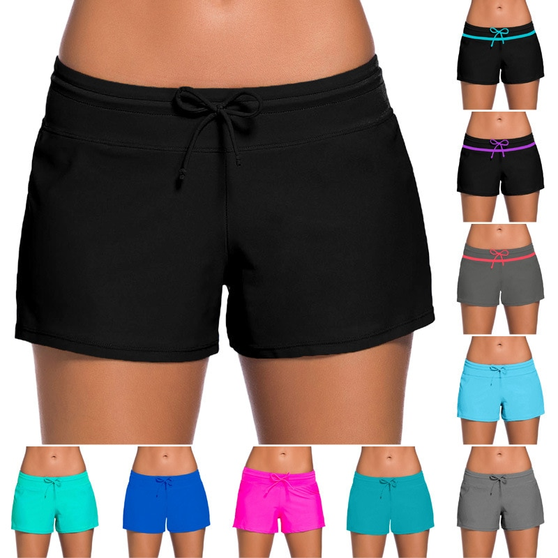 European And American-Style Summer Swim Shorts Women's  Solid Color Hot Spring Beach Hot Selling Swimming Suit