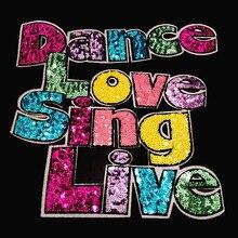 T shirt Frauen patch farbe pailletten 240mm Brief Dance Singen deal mit es eisen auf patches für kleidung stoff aufkleber free