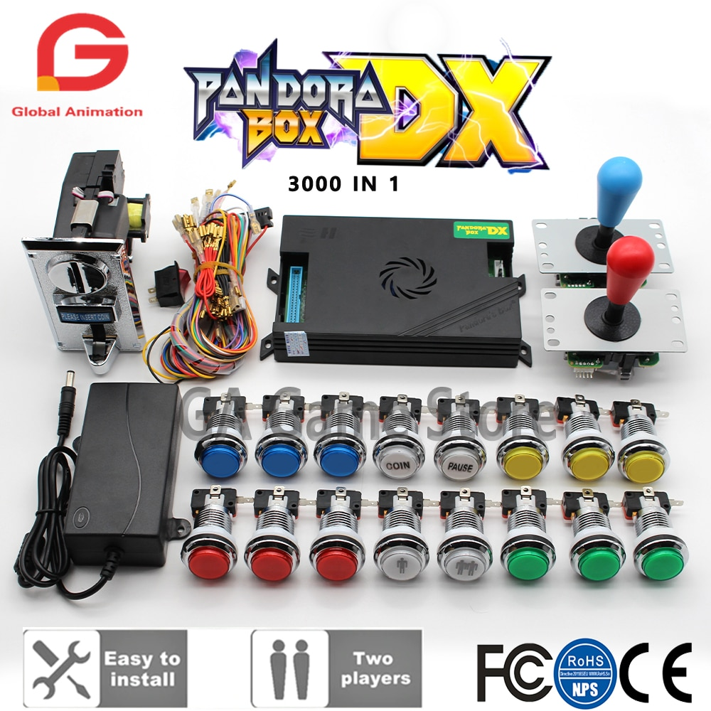 2 لاعب عدة سانوا جويستيك ، كروم زر مصباح ليد يعمل بالضغط ، الأصلي باندورا بوكس DX عملة متقبل ل ماكينة صالة الألعاب خزانة مع دليل