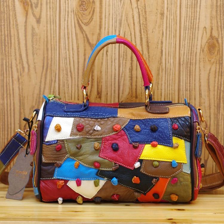 حقيبة يد نسائية من الجلد الطبيعي ، حقيبة كتف ، ملونة ، عشوائية ، غير رسمية ، دودو ، 482