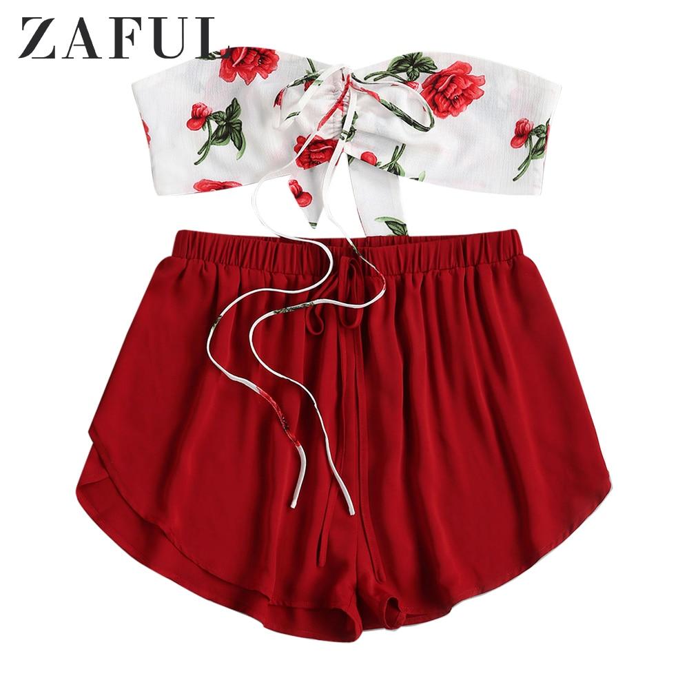 ZAFUL mujeres Floral Cinched anudado traje de dos piezas Crop Top alta cintura pantalones cortos Set Self Tie Shorts impreso traje Casual superposición