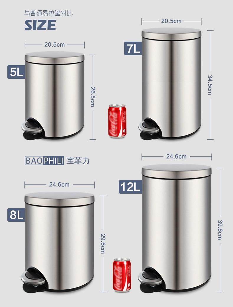 Stainless Steel Trash Can With Lid Foot Pedal Waterproof Large Capacity Trash Can Double Layer Lixeira Household Items BS5LJT enlarge