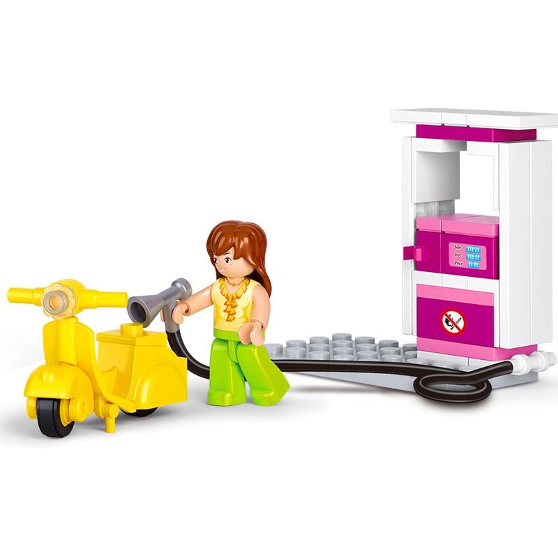 SLUBAN 0518 Gas Station Girl Friends City Retro Motorcycle Model Building Blocks Toys Construction Technic Gift For Children