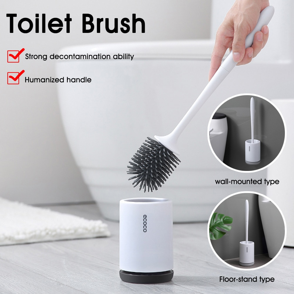 Silicone TPR Toilet Brush toilet holder Quick Drain Cleaning Brush Tools for Toilet Household WC Bathroom Accessories Sets недорого
