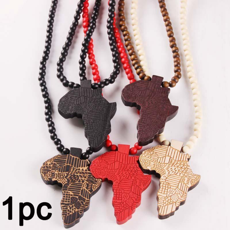 Collar con colgante de mapa africano para mujer, joyería etíope, venta al por mayor, mapa africano, artículo de Hiphop #730