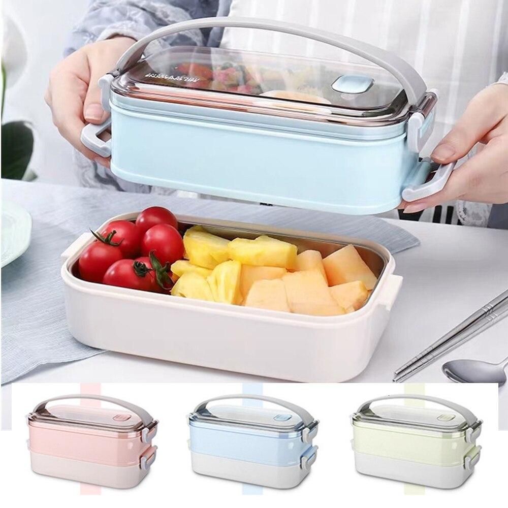 800 مللي المحمولة الفولاذ المقاوم للصدأ الغداء صندوق تخزين الميكروويف التدفئة ونتشبوكس صندوق بنتو عشاء الغذاء الحاويات للأطفال الكبار