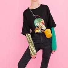 NiceMix Cotton Cartoon Print Striped T-shirts Women 2019 Autumn Fashion Oversize Casual Fake two piece Tee Korean Punk T-shirt