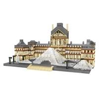 lezi 8040 world architecture mini building blocks paris louvre museum 3d model diy diamond bricks toy for children gifts