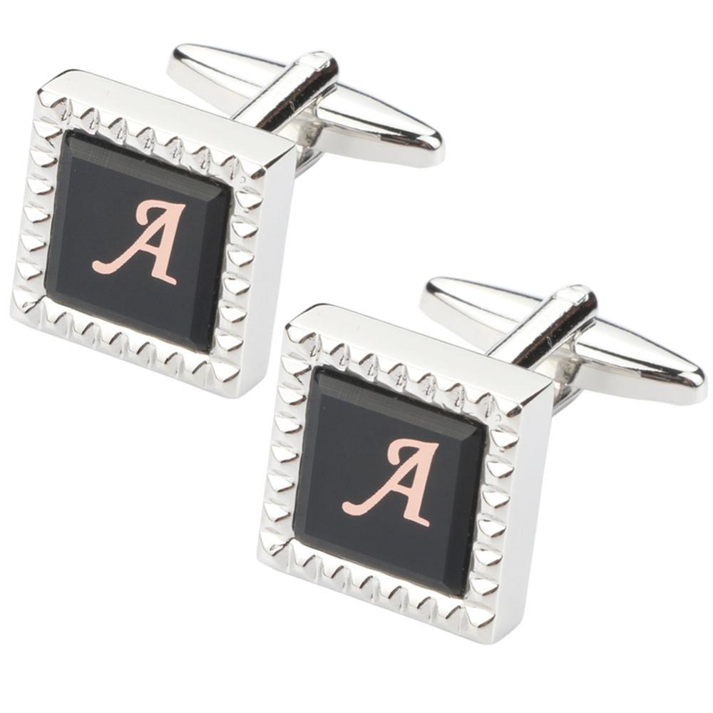 Clássico abotoaduras para homem casamento negócios abotoaduras camisa iniciais alfabeto A-Z