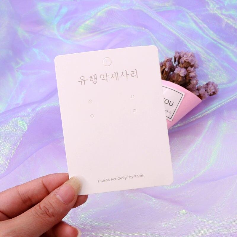 200 unids/lote 7*9,5 cm exhibición de joyas de moda papel blanco tarjeta pendiente de gota embalaje etiqueta titular de la tarjeta Logo personalizado