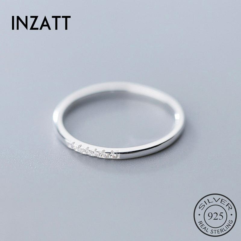 INZATT Настоящее серебро 925 проба Циркон круглое геометрическое кольцо для модных женщин милые ювелирные изделия 2019 минималистичные аксессуары подарок