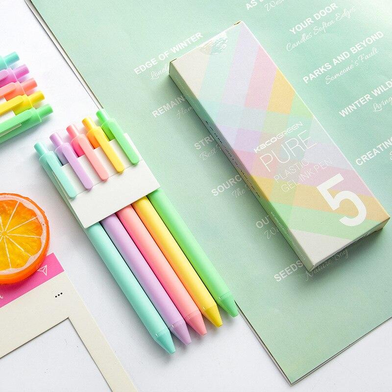 5 pçs macaron puro gel caneta conjunto macio doce toque corpo 0.5mm esferográfica preto cor canetas de tinta para escrever presente escritório escola a6696