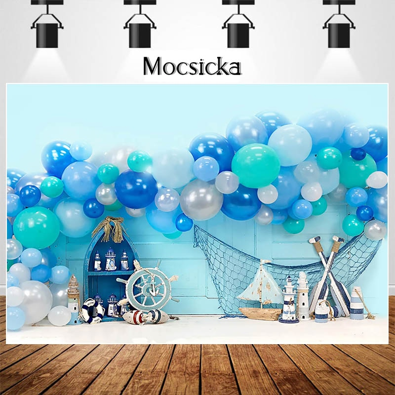 MOCSIKA Boy Girl First Birthday Backdrops for Photography Balloon Toy Decoration Cake Smash Photocall Background Photo Studio enlarge