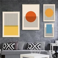 abstract yellow blue orange geometric shapes poster black line canvas painting wall art picture living room home interior decor