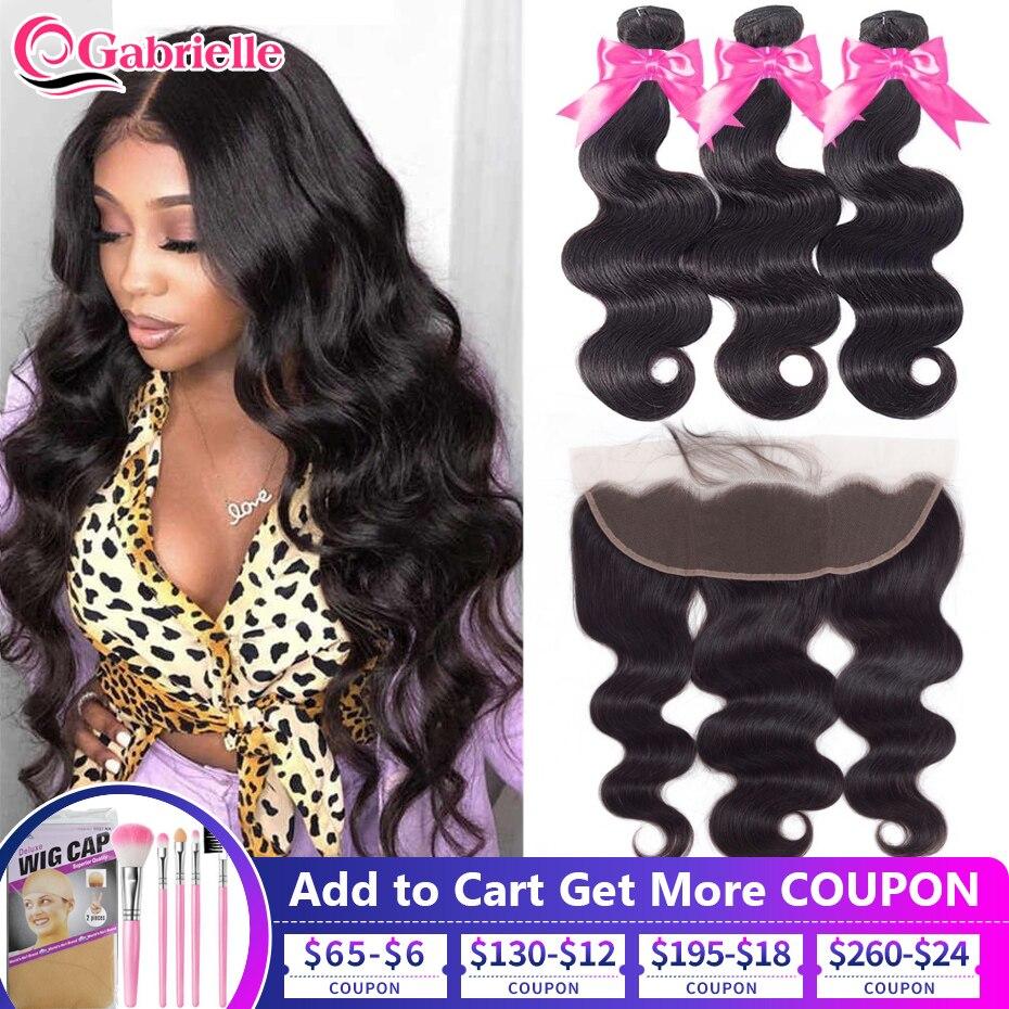 Gabrielle Hair Ear To Ear 13x4 Frontal With Bundles Brazilian Human Hair Body Wave Bundles With Lace Frontal Remy Hair Extension 3 4 Bundles With Closure Aliexpress