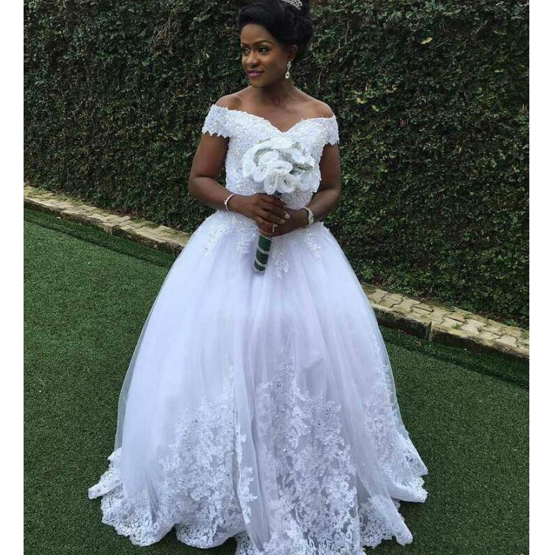 Nuevo y elegante Vestido de novia con apliques de encaje con cuentas...