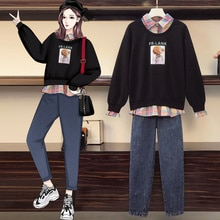 2021 Autumn New Large Size Women's Clothing Western Style Youthful-Looking False Two-Piece Sweaters