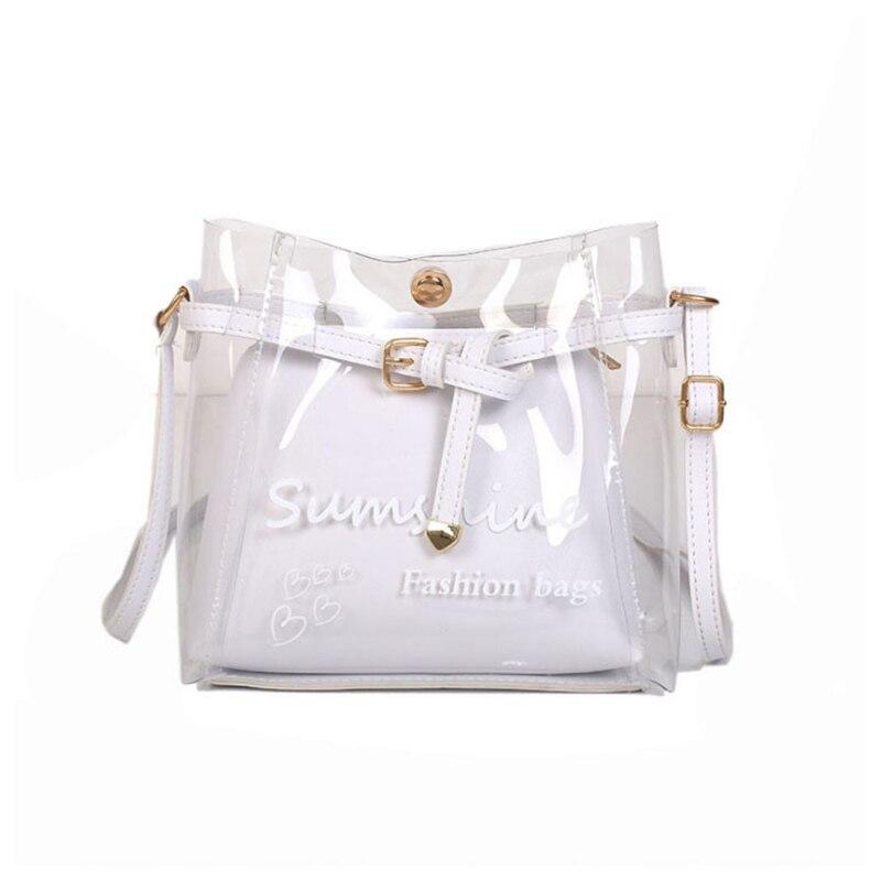 Nova moda feminina transparente pvc mensageiro corpo cruz bolsa de couro das senhoras bolsa de ombro bolsa tote saco cremoso-branco
