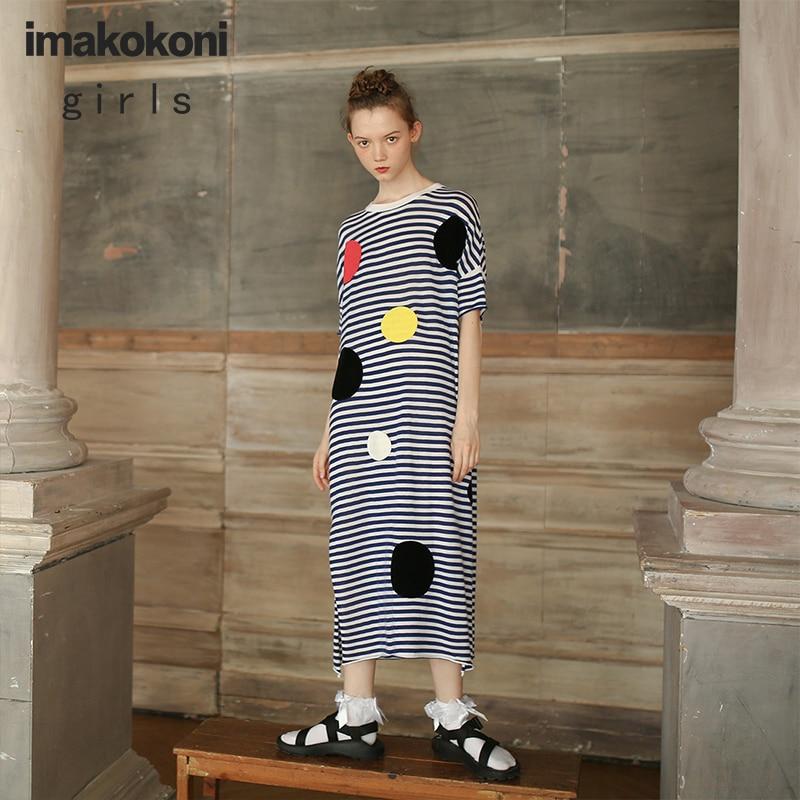 imakokoni knitted dress mid-length striped color wave dot original women's lightweight breathable short-sleeved summer tide