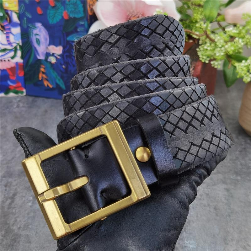 حزام جلد أصلي للرجال ، سميك ، فاخر ، نقش مصمم ، مشبك نحاسي ، MBT0599