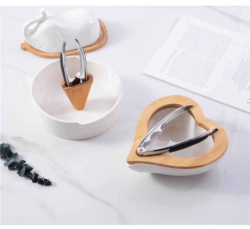 الخوخ شكل قلب طبق الجوز بسيط مع الجوز كليب طبق وجبة خفيفة السيراميك المجففة صينية للفاكهة للتخصيص