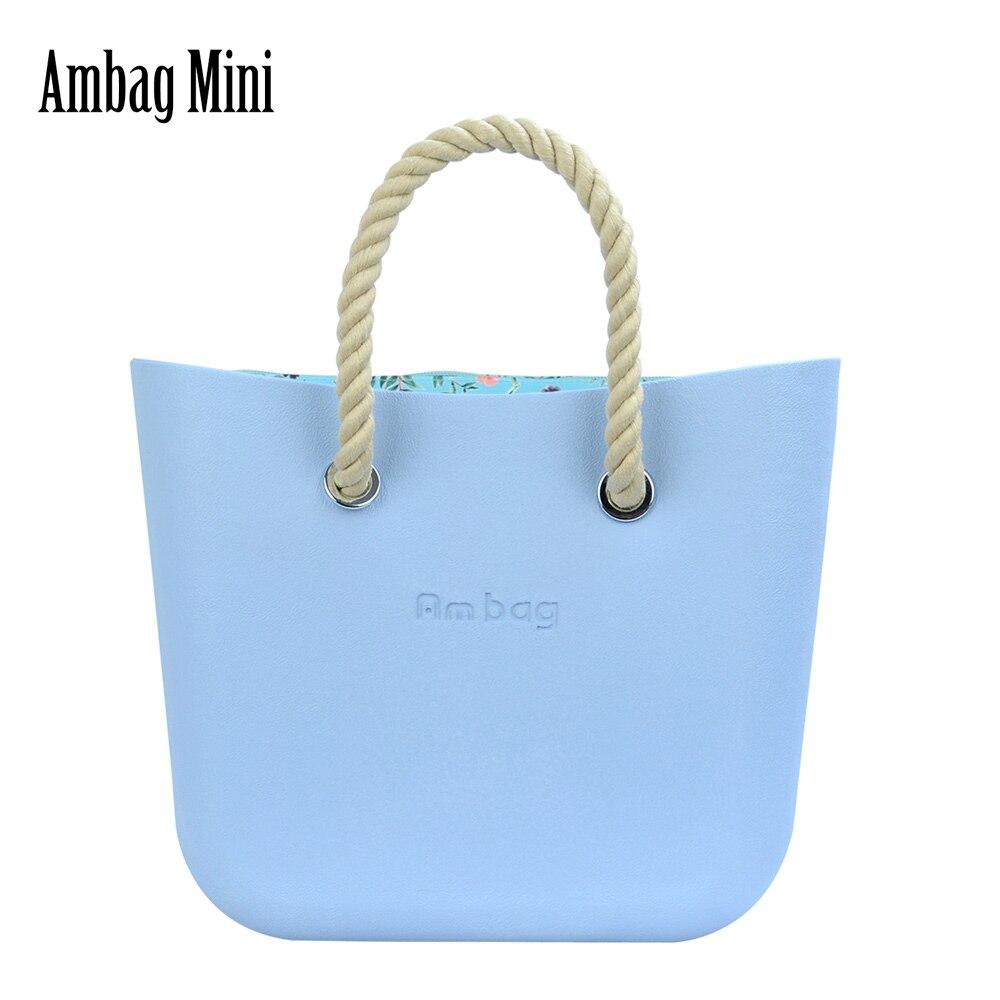 2021 جديد AMbag Obag O حقيبة نمط إيفا صغيرة مع الملونة زمم الداخلية قصيرة القنب مقابض حبل مقاوم للماء النساء حقائب اليد لتقوم بها بنفسك