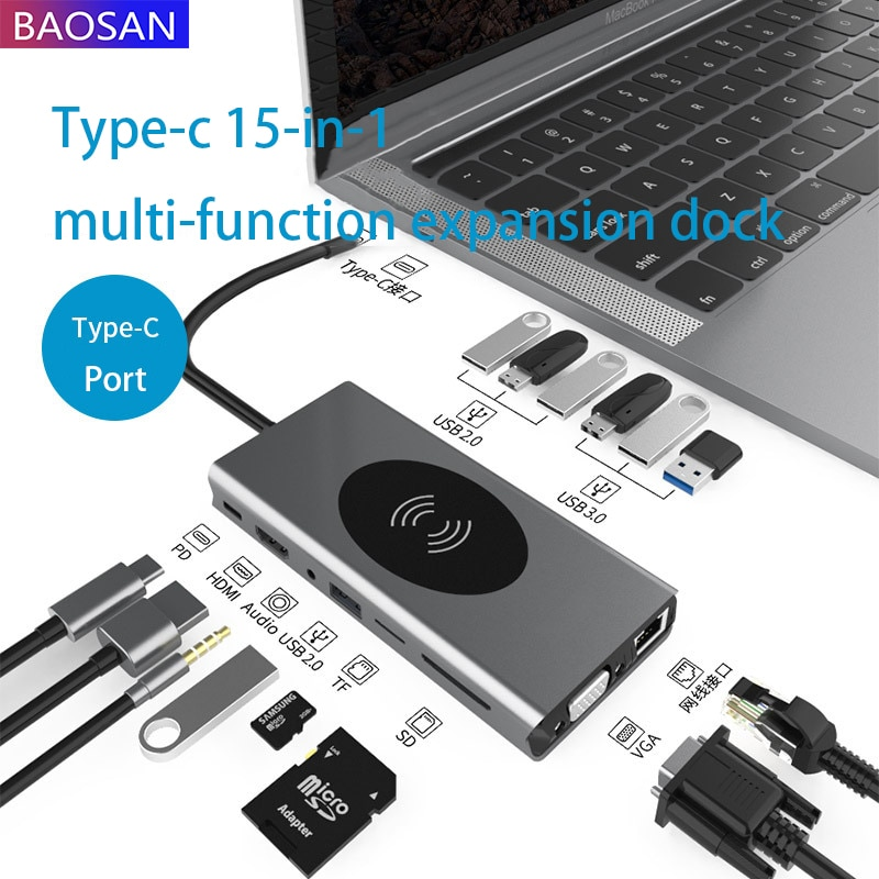 Type-c 15 1 bonded to expand the dock docking hub HUB charge wireless notebook converter