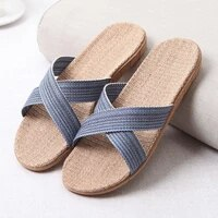 2020 new mens summer slippers flats breathable linen casual sandals home bathroom non slip flip flops indoor flax shoes