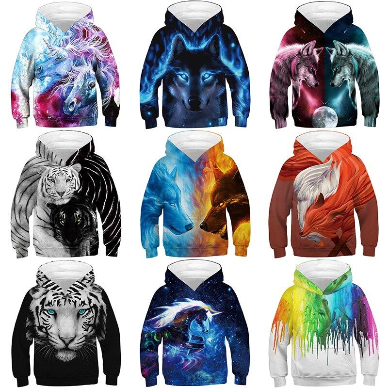 Lobo Tigre zorro 3D impreso niños niñas Hoody deporte moda prendas de vestir exteriores niños Sudadera con capucha ropa niños Pullover Tops 5-12Y
