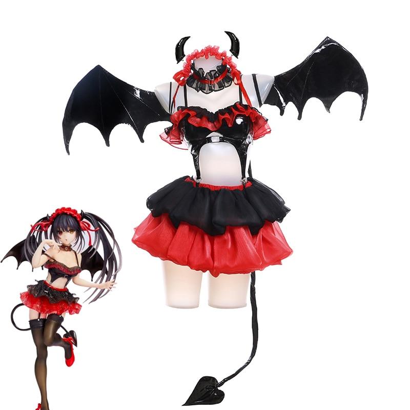 أنيمي تاريخ لايف توكيساكي كورومي تأثيري حلي كابوس الشيطان الصغير تأثيري هالوين ازياء الأحمر النساء الفتيات فستان مثير