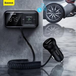Image 1 - Baseus 3.1A Быстрая зарядка USB Автомобильное зарядное устройство fm передатчик Bluetooth беспроводной автомобильный комплект громкой связи Aux аудио MP3 плеер быстрое зарядное устройство