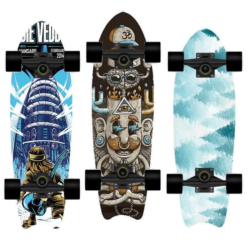 Скейтборд BZ 2021, двойной вертикальный четырехколесный скейтборд, скейтборд, Пенни борд, длинная доска, длинная доска, колода hb0102